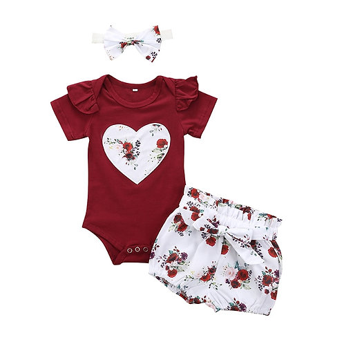Clothes Set Fashion Solid Color for Girls Outfit Bodysuit Shorts Headband