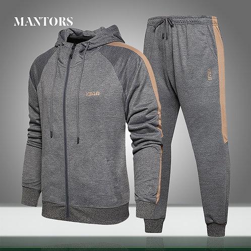 Casual Hooded Tracksuit Autumn Winter Mens Set Jackets+Pants Sweat Suit