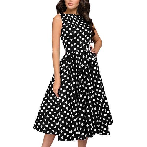 Elegant Polka Dot Dresses Woman Party Night Casual Sleeveless Vintage