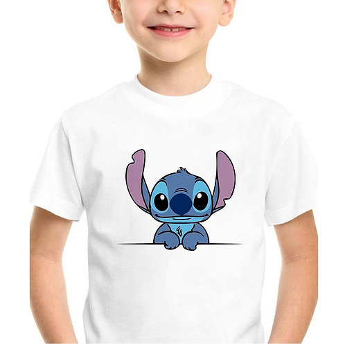 Cartoon Movie Lilo&Stitch Print Graphic Kids Top Casual White Round Neck Tee