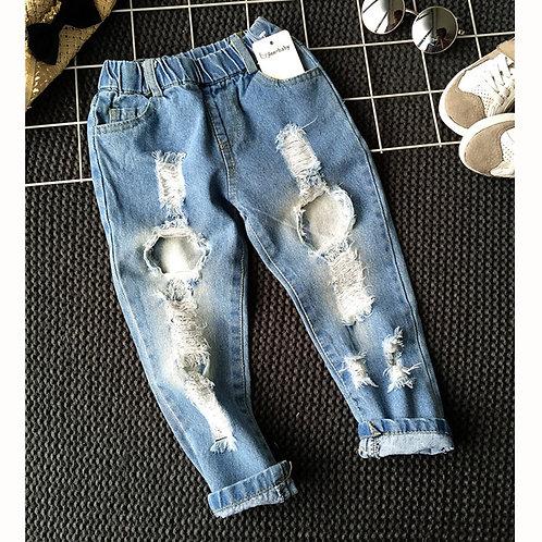 Boys  Trousers Autumn Fashion Designer Brand Children Denim Pants Ripped Jeans