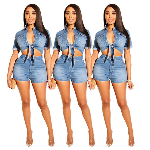 Casual Character Jean Shorts Jacket Set 2 Two Piece Short Pants Set Women