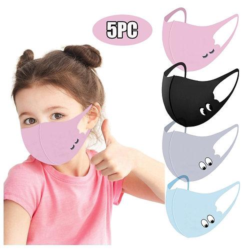 5pcs Children Kids Boys Girls Washable Adjustable Cartoon Lovely Mask Cover Face