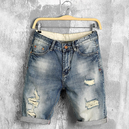 Denim Shorts Jeans Men Blue Straight Ripped Distressed Hip Hop Shorts Male