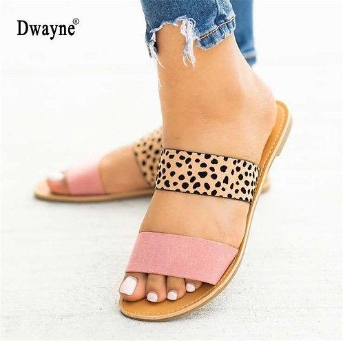 2021 New Fashion Female PU Flat Heel Slip on Open Toe Ladies Shoes