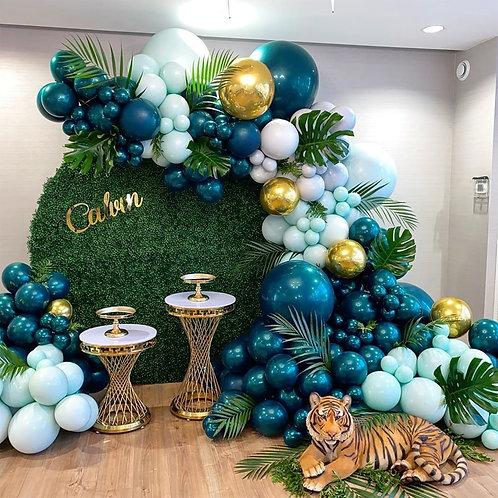 135Pcs Latex Green Balloons Jungle Party Decorations Jungle Theme Party Safari