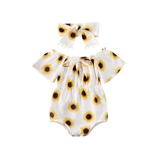 2 Pieces Summer Print Sunflower Toddler Children Clothes