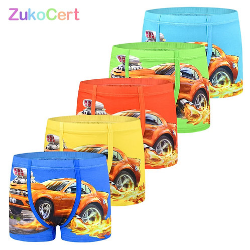 5-Pack Cartoon Car Kids Boy Underwear for Baby Children's Boxer Underpants