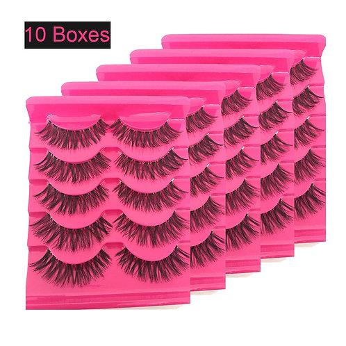 10 Boxes Women Fashion Soft Natural Long Cross Fake Eye Lashes Handmade False