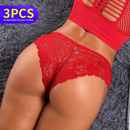 3pcs Thong Panties Women Female Underwear Sexy Tanga Lingerie Stringi Bragas
