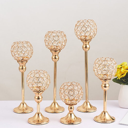 Crown Gold Crystal Candlestick Creative Metal Wedding Centerpieces Candle
