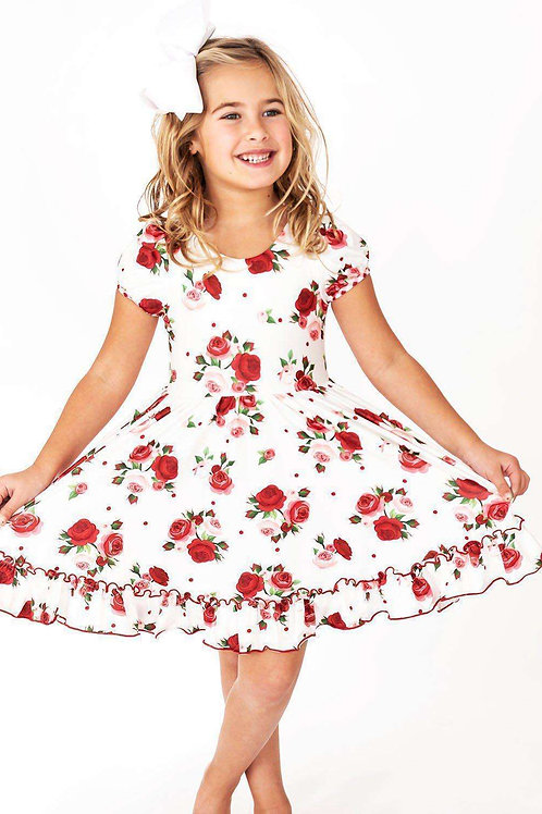 Delicate Red Rose Gingham Cross Back Hugs Collection Dress