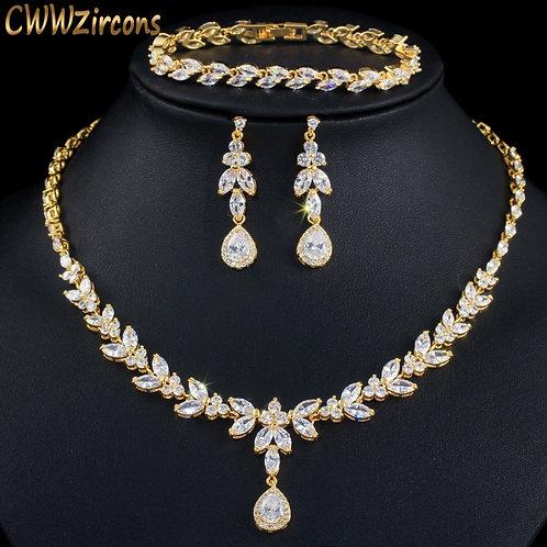 CWWZircons 3pcs Women Costume Big Gold Jewelry Set Shiny Cubic Zirconia