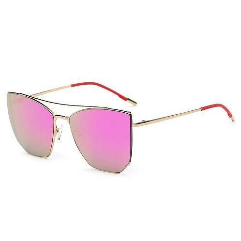 DORSET | CA06 - Oversize Polygon Mirrored Lens Cat Eye Sunglasses