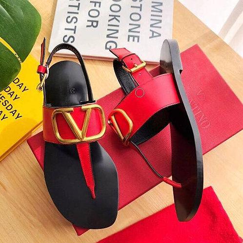 Designer v Brand Shoes Women Summer Sandals Real Cow Leather Non-Slip Slippers
