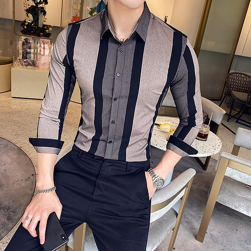 2020 New Men Striped Shirts Formal Business Men Slim Fit Casual Long Sleeve