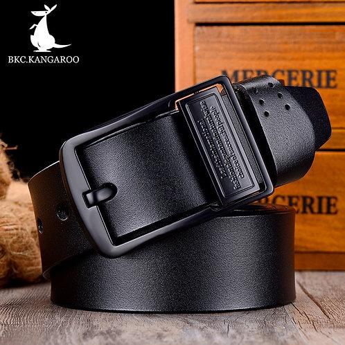 BKC.KANGAROO Men Belt Genuine Leather Luxury High Quality Brand Pin Belt f