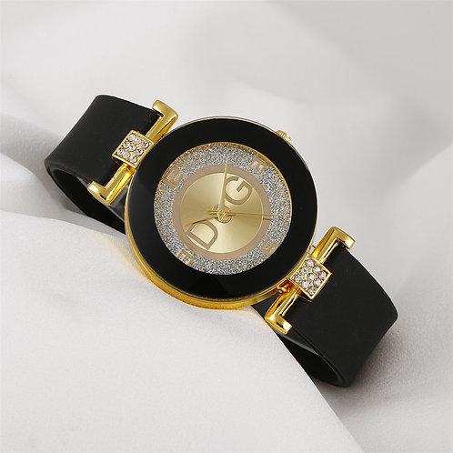 Black White Quartz Watches Women Minimalist Design Silicone Strap Wristwatch