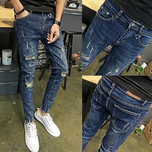 Boys Small Feet Ripped Holes Cropped Jeans Thin Boys Beggar Pencil