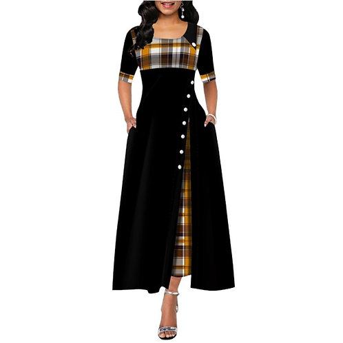 Elegant Long Maxi Dress Women Summer Plaid Print Office Lady Dress Vintage Mid D