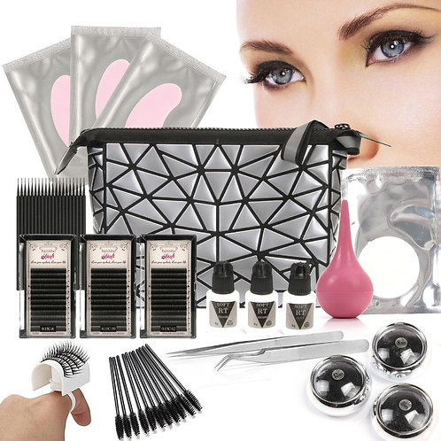 Anmas Rucci Lastest False Eye Lashes Extension Full Tools Kit Under Patch Glue D