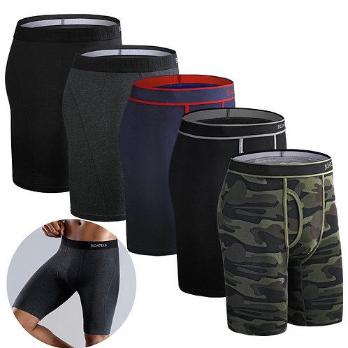 5Pcs Set Boxer Long Boxershorts Men Underwear Panties Cotton Male Underpants