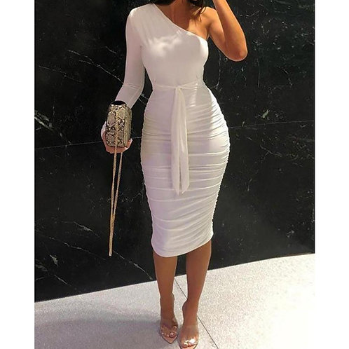 2020 Women White Slim Fit Party Dress One Shoulder Ruched Design Bodycon Dress