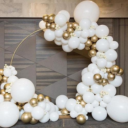 126pcs/Set Matte White Gold Metallic Balloons Garland Arch Kit Baby Shower