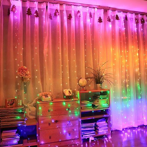 3x3m 3x2m Rainbow Curtain Lights LED String Garland Fairy Iciclet Wall Wedding