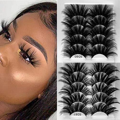 5 Pairs Mink Hair False Eyelashes 3D Criss-Cross Wispy Cross Fluffy Lashes