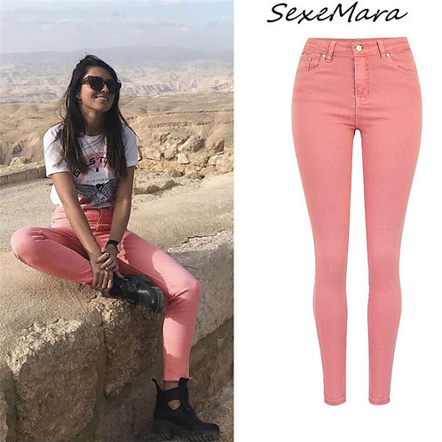 2020 Women Jeans High Waist Fashion Casual Skinny Pencil Pink Jeans for Ladies