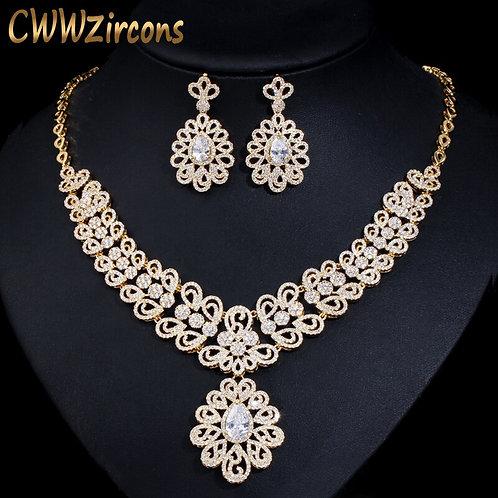 CWWZircons Nigerian Cubic Zirconia Big Wedding Necklace and Earrings Luxury