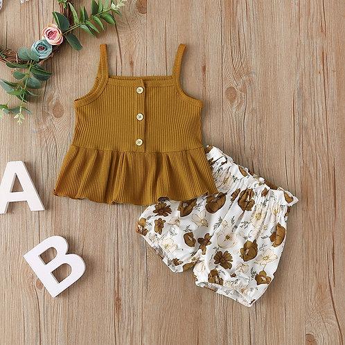 Cute Toddler Kid Girls Sleeveless Chiffon Tops Yellow Floral Tutu Skirts 2pcs