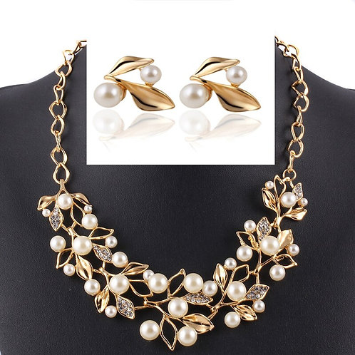 Branches of Pearl Jewelry Set Crystal Leaf Sweater Necklace Jewelry Set