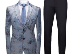 2 Pieces Men Suit Floral Tuxedo Dress Suit Jacket Black Pants High Quality Prom