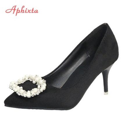 Aphixta Large Size 48 Pearl Metal Buckle Stiletto High Heels..