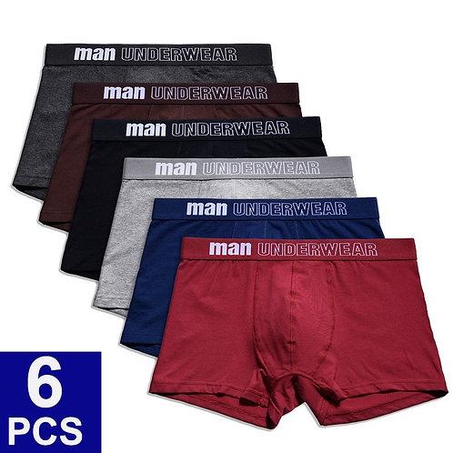 6pcs/Lot Breathable Solid Underwear Flexible Boxer Shorts Underpants Male