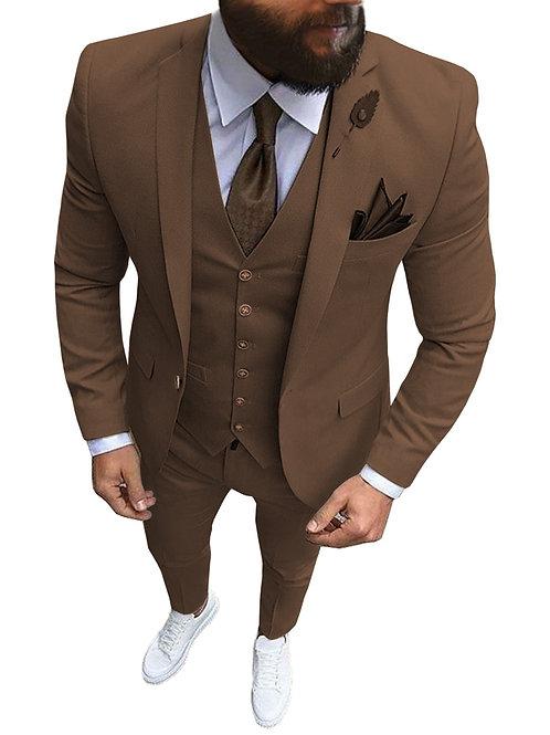 3 Pieces Slim Fit Khaki Formal Tuxedos for Wedding Groomsmen (Blazer+Pants+Vest)