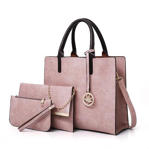3PCS Women's Bag Set Fashion PU Leather Ladies Handbag Solid Color