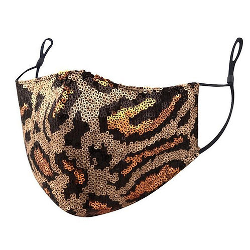 Leopard Sequin Mask for Women Fashion Facial Cover