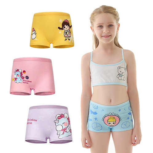 4 Pcs/ Lot Girls Panties Cotton New Cute Swings Cartoon Girls Underpants