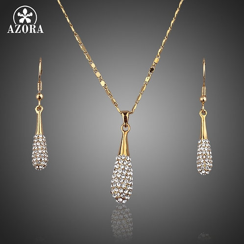AZORA Gold Color Stellux Austrian Crystal Water Drop Earring  & Pendant Necklace