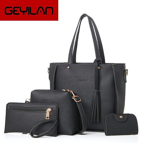 Bag Set Top-Handle Big Capacity Female Tassel Handbag Fashion Shoulder Bag Purse