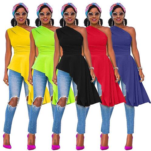 10422-Sw29 Slash-Neck Summer Woman Sexy Tops Fashionable 2021 Sehe Fashion