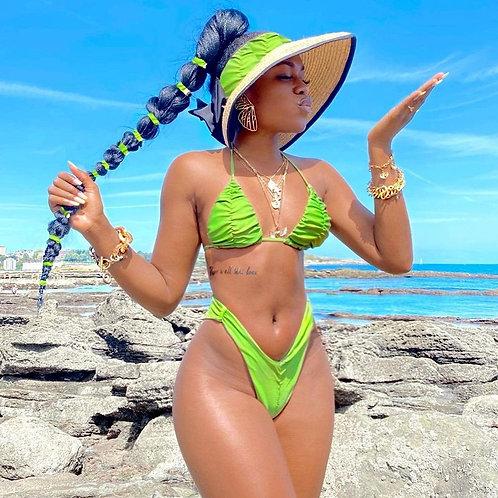 2021 Frilled Bathing Suit Triangle Mini Bikini Set Solid Swimwear Women S