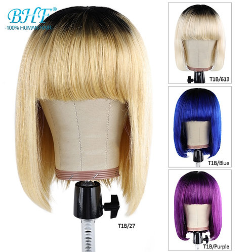 BHF Ombre Short Bob Wig With Bangs Brazilian Straight Human Hair Wigs Remy Hair