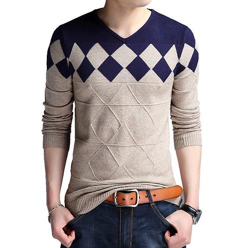 BROWON Autumn Vintage Sweater Men Collarless Sweater , v-neck
