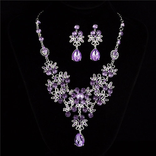 Cute Female Rainbow Crystal Jewelry Set Charm Silver Color Wedding Dangle  set