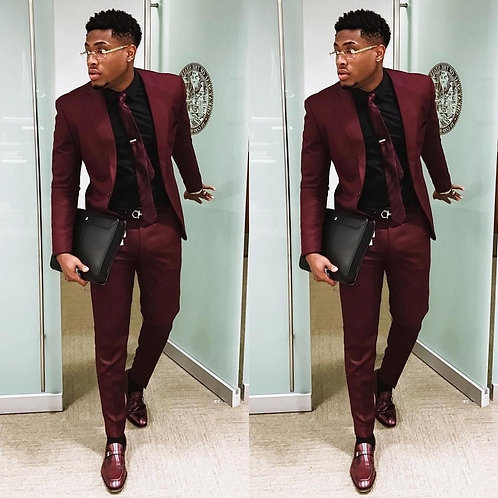 Burgundy Two Pieces Men Suits Slim Fit Wedding Grooms Tuxedos
