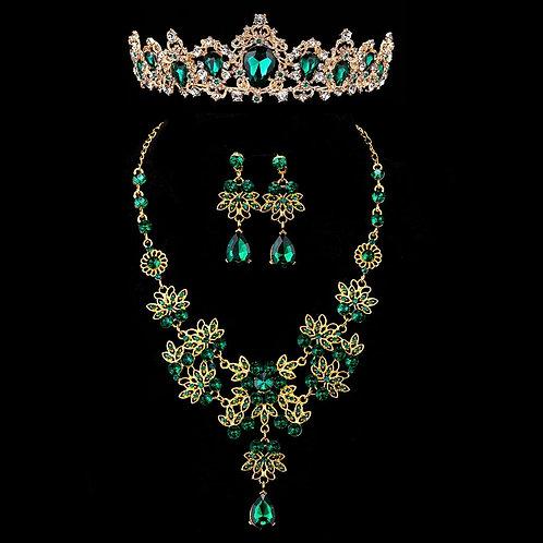 3PCS Luxury Baroque Big Rhinestone Bridal Wedding Jewelry Sets Gold Crystal